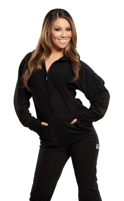 Unisex Solid Black Fleece Footed Pajamas - Adult Sized Soft Footie Hooded PJ