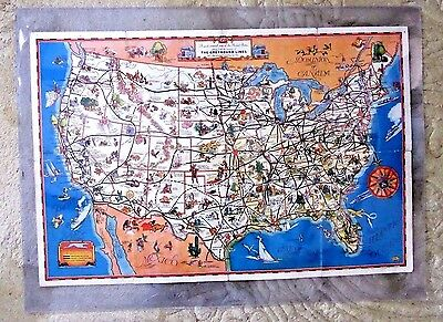 Greyhound Usa Map.A Good Natured Map Of The United States 1935 Greyhound Bus Tourism