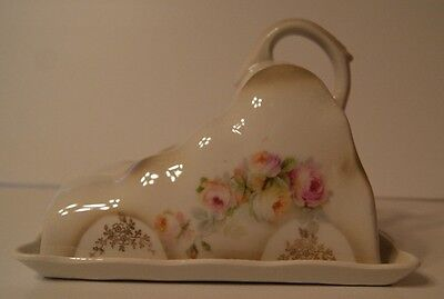 Antique Rose Pattern Coverd Cheese / Butter Dish made in Germany