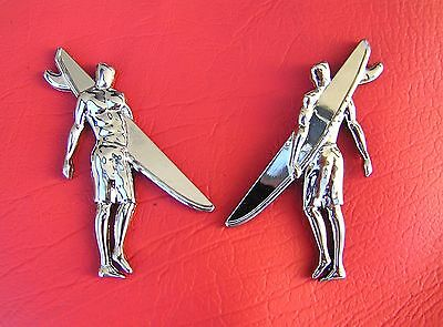 SURFER CAR BADGE PAIR Chrome Metal Emblem Surf Board Rider Beach Sandman Holden