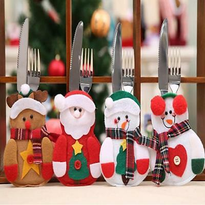 Xmas Santa Claus Kitchen Table Decor Tableware Holder Pocket Cutlery Bag FW