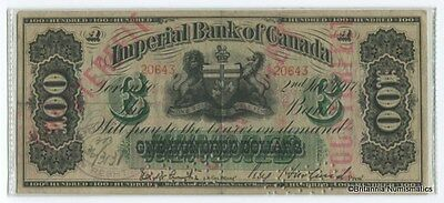 IMPERIAL BANK OF CANADA 1917 $100. Cft  S/N: 20643A Inv #2013