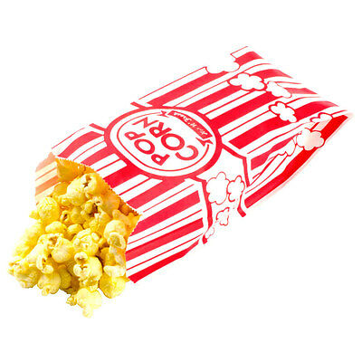 Carnival King Paper Popcorn Party Bags 1 Ounce Bag Red and White Striped