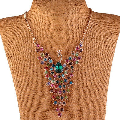 Vintage Women Rhinestone Peacock Statement Chain Necklace Earrings Jewelry Set