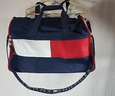 tommy hilfiger duffle travel carry on bag big flag logo canvas weekender sport cad. Black Bedroom Furniture Sets. Home Design Ideas