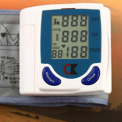 Digital LCD Wrist Cuff Arm Monitor Heart Beat Blood Pressure Meter Machine ST
