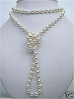 8mm Superb natural white salt water Shell Pearl necklace 48 inchs 18K GP PN348