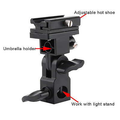 B-Type Flash Hot Shoe Bracket Tripod Umbrella Holder Light Stand Adapter Black
