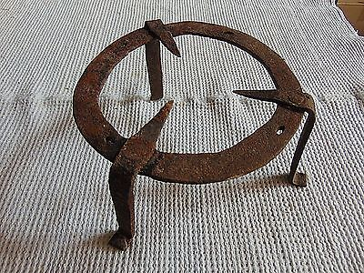 Antique Wrought Iron Trivet Fireplace Stand Pot 18th Century