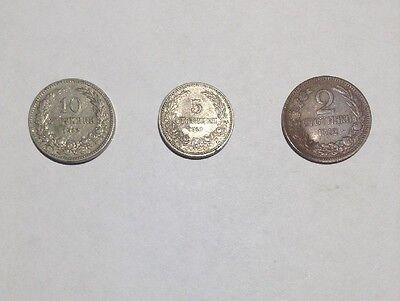 Bulgaria 3 Coin Set 1912  2, 5, 10 Stotinki