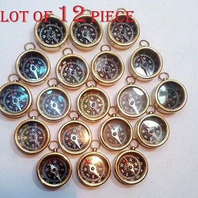Lot Of 10 Pcs Nautical Vintage Maritime Gift Antique Brass Pocket Compass