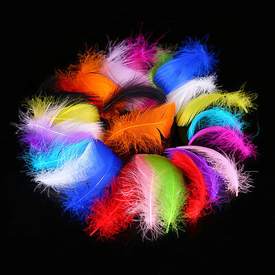 100pcs Colored Goose Feather Dyed Craft Costume Hat Card Millinery