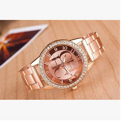 Women Stainless Steel New Crystal Dial Fashion Quartz Analog Luxury Wrist Watch