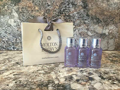 Molton Brown Exquisite Vanilla & Violet Flower Bath & Shower Gel 3 x 30ml - NEW