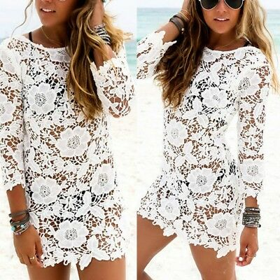 Women's Summer Bathing Suit Lace Crochet Bikini Swimwear Cover Up Beach Dress US