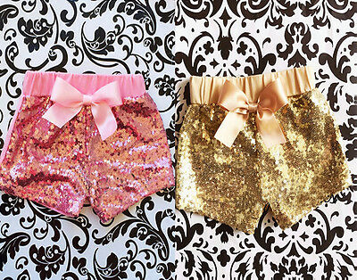 Summer Toddler Baby Girls Bow Party Shorts Sparkle Sequin Bottoms Pants Clothes