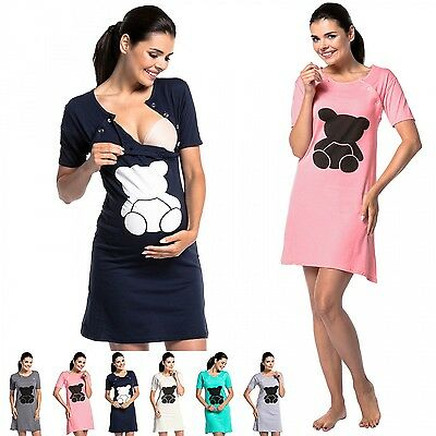 Zeta Ville - Women's Maternity Nursing Nightdress Breastfeeding Teddy Bear -984c