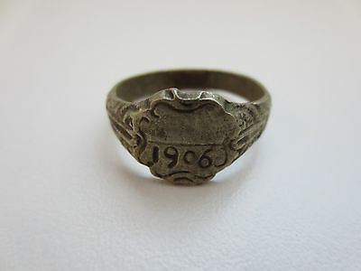 GORGEOUS ANTIQUE SILVER ALLOY FOLKLORE RING Year 1906 - RARE