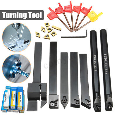 7Pcs 10mm Shank Lathe Turning Tool Holder Boring Bar With Carbide Inserts