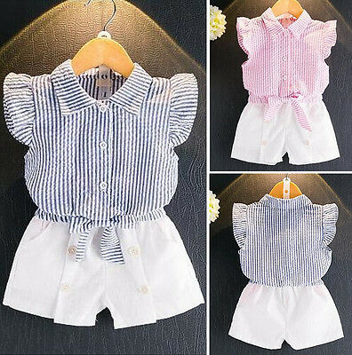 2pcs Set Kids Baby Girl Clothes Shirt Blouse Toddler Tops+Shorts Pants Outfits
