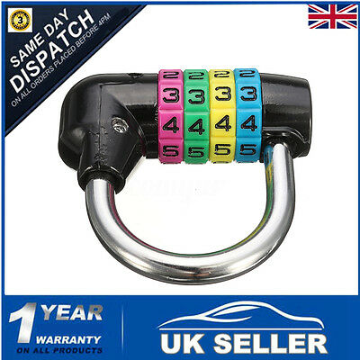 Resettable 4 Digit Number Code Password Combination Padlock Security Lock Black