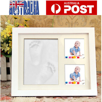 DIY Newborn Baby Hand Foot Prints Soft Clay Casting Kit W/ Photo Frame White