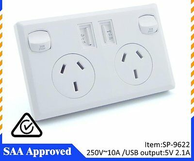 Dual USB 2.1A Power Point Home Wall Power Supply Socket SAA Approval AU NZ