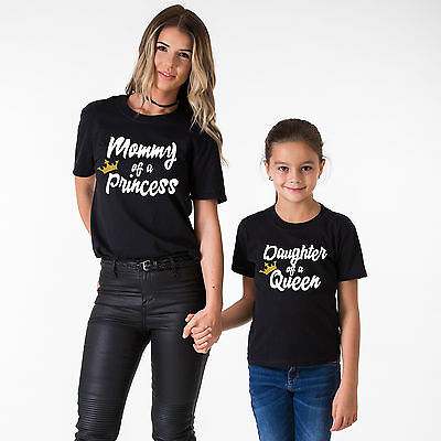 Mother Daughter Matching Shirts Mommy of a Princess Daughter of a Queen Outfits