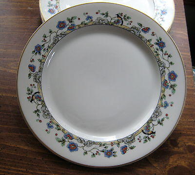 "Vtg  Syracuse China CLOISONNE/Hampton 4 qty Dinner Plates 9 3/4""  Birds Flowers"