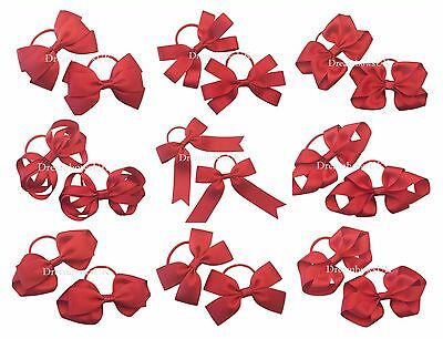 Red ribbon hair bows on thin bobbles, red toddler hair accessories, hair slides