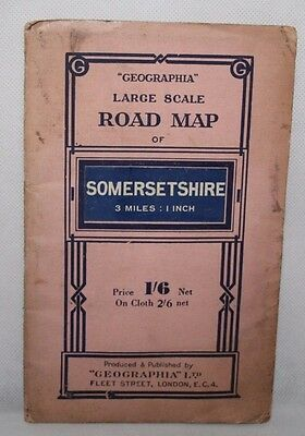 Geographia Large Scale Road Map of Somersetshire - c1950