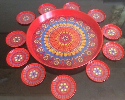 Vintage Worcester Ware Tin Tray and 11 Matching Coasters Red Pattern