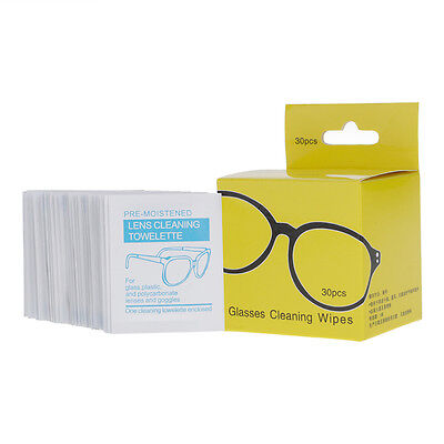 c76272699f3 30 Pre-Moistened Lens LCD LED Screen Optical Camera Glasses Cleaning Cloth  Wipes