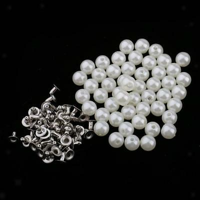 50pcs Pearl Rivets Studs Buttons for Clothes Bracelet Bag Crafts Ivory 8mm
