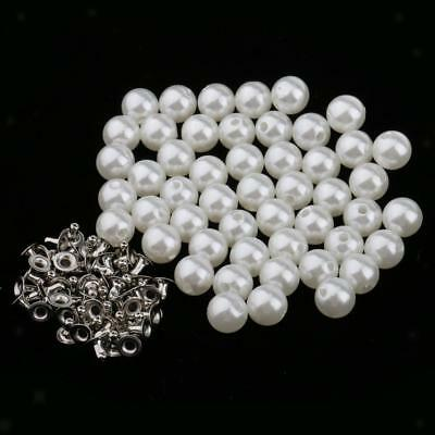 50pcs Pearl Rivets Studs Buttons for Clothes Bracelet Bag Crafts Ivory 10mm