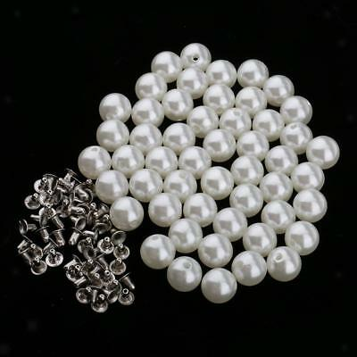 50pcs Pearl Rivets Studs Buttons for Clothes Bracelet Bag Crafts Ivory 12mm