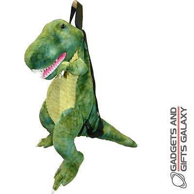 T-REX DINOSAUR GREEN BACKPACK RUCKSACK SOFT PLUSH Kids school accessory