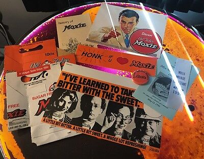 Moxie Soda Collectibles Lot Bumper Sticker Pin Signs Etc. Vintage See Photos