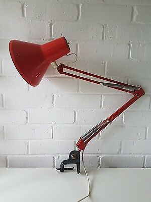 VINTAGE HERBERT TERRY 1950/60's orange ANGLEPOISE DESK LAMP with clamp fix