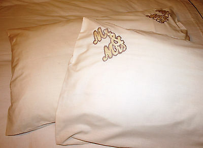"Pillow cases, hand embroidered ""Mr & Mrs"", cotton, cream"