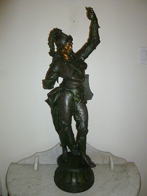 Large antique spelter polychrome sculpture lamp post 17th Cent Spanish soldier