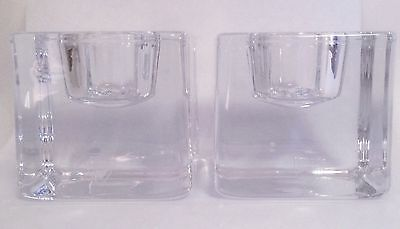 MCM Pair Orrefors Miniature Candle Stick Holders Cubes & Squared Vintage