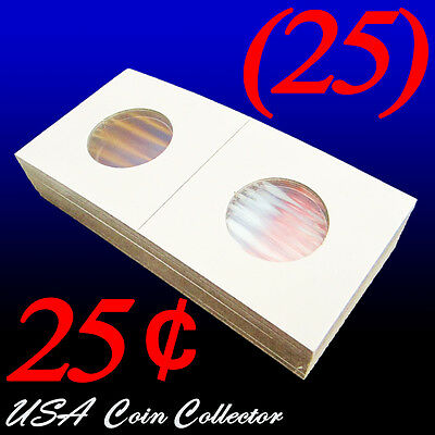 (25) Quarter Size 2x2 Mylar Cardboard Coin Flips for Storage | 25 Cent Holders