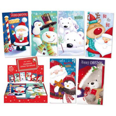 JUST 7p! CHRISTMAS SELF SEAL MONEY WALLETS X 72 in display. 8 designs, ( 1564