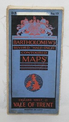 Bartholomew - Half-inch Contoured Cloth Map - Vale of Trent - Sheet D5 - 1941