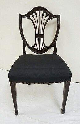 Antique Shield Back Side Chair With A Curved Arrow Splat~Black Damask Seat