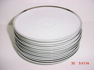 Pallas By Sango Set Of Eight  Saucers Platinum Trim (No Cups)