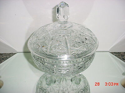 American Brilliant Heavy Cut Crystal Large Covered Footed Candy Dish