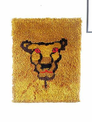 Vtg 60s 70s MCM Large Lion Mane Latch Hook Modern Art Yarn Wall Picture 31 x 40
