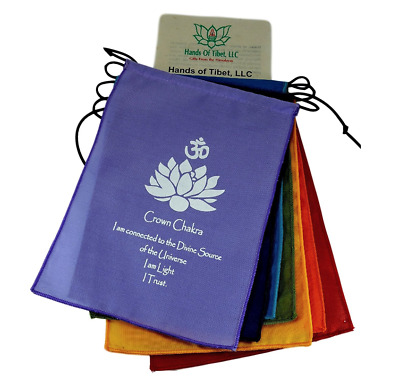 Small Seven Chakra Prayer Flags Wall Hanging